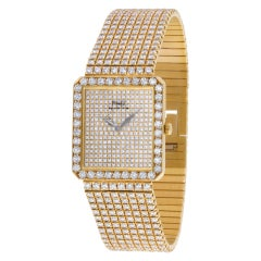 Piaget Classic 81541c626 18k with Original Pave Diamonds Quartz Watch
