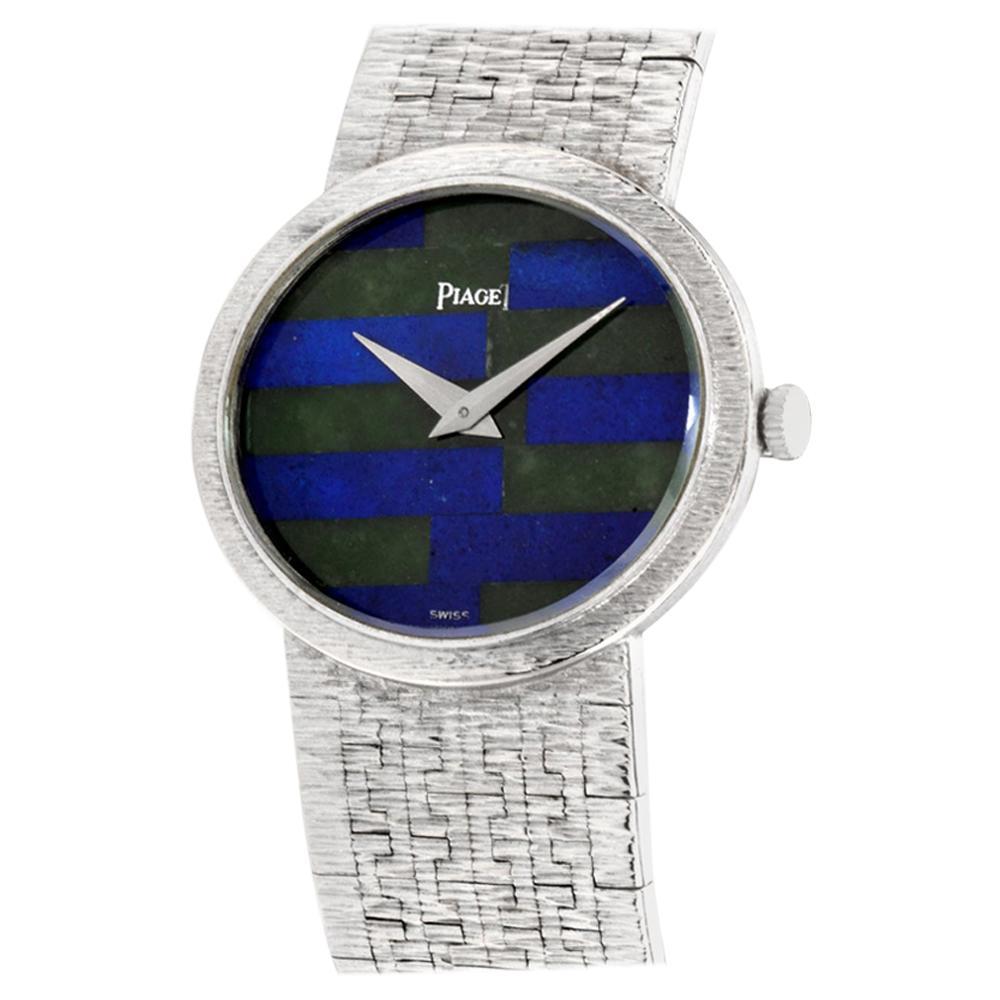 PIAGET Classic Mechanical Lapis Jade Dial 18 Karat White Gold Ladies Watch