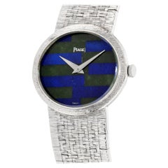 PIAGET Classic Mechanical Lapis Jade Dial 18 Karat White Gold Ladies Watch