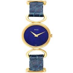 Piaget Classique Yellow Gold Lapis Dial Vintage Ladies Watch 9451