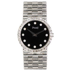 Piaget Dancer 18 Karat White Gold with Onyx Dial and Diamond Bezel Ladies Watch