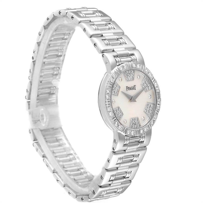 Piaget Dancer White Gold Mother of Pearl Diamond Ladies Watch 80564 In Excellent Condition For Sale In Atlanta, GA