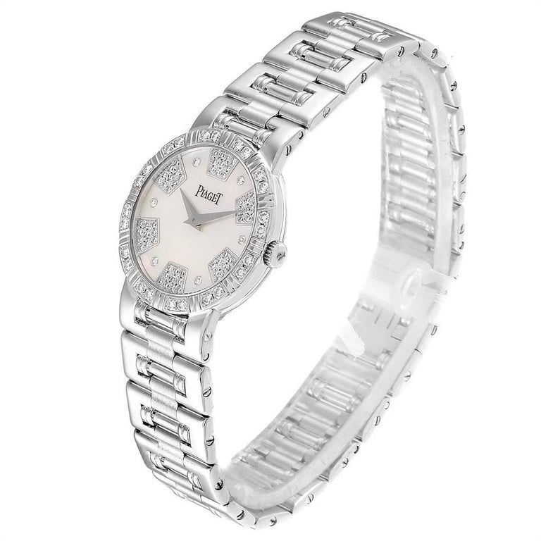 Women's Piaget Dancer White Gold Mother of Pearl Diamond Ladies Watch 80564 For Sale