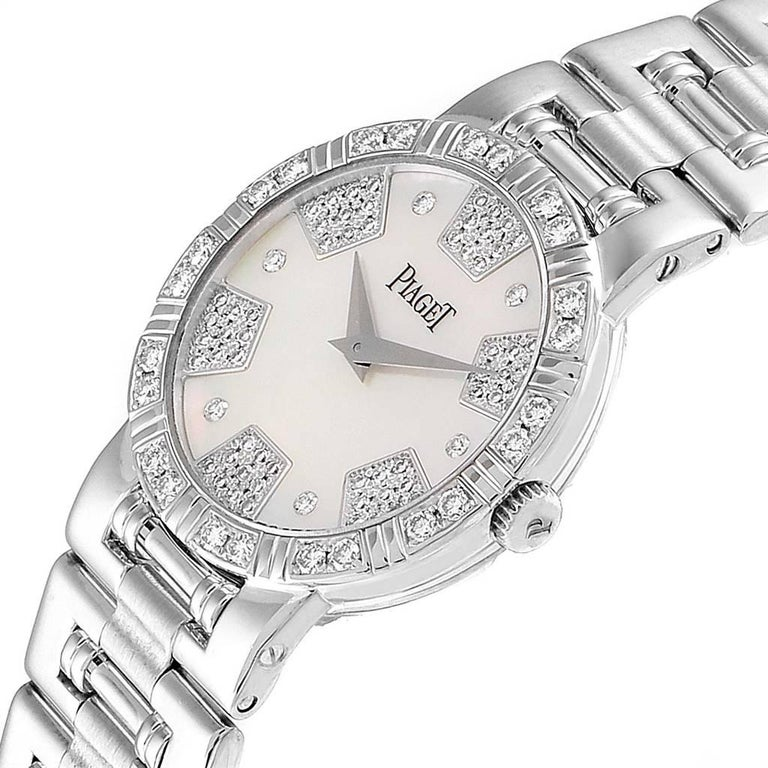 Piaget Dancer White Gold Mother of Pearl Diamond Ladies Watch 80564 For Sale 1