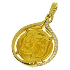 Piaget Diamond 18 Karat 24 Karat Yellow Gold Hans Ernii Coin Pendant Top