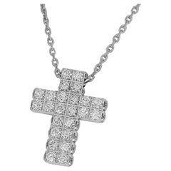 Piaget Diamond 18 Karat White Gold Limelight Cross Pendant Necklace