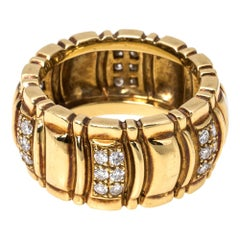 Piaget Diamond 18K Yellow Gold Wide Band Ring Size 53
