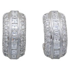 Piaget Diamond and 18k White Gold Hoop Earrings