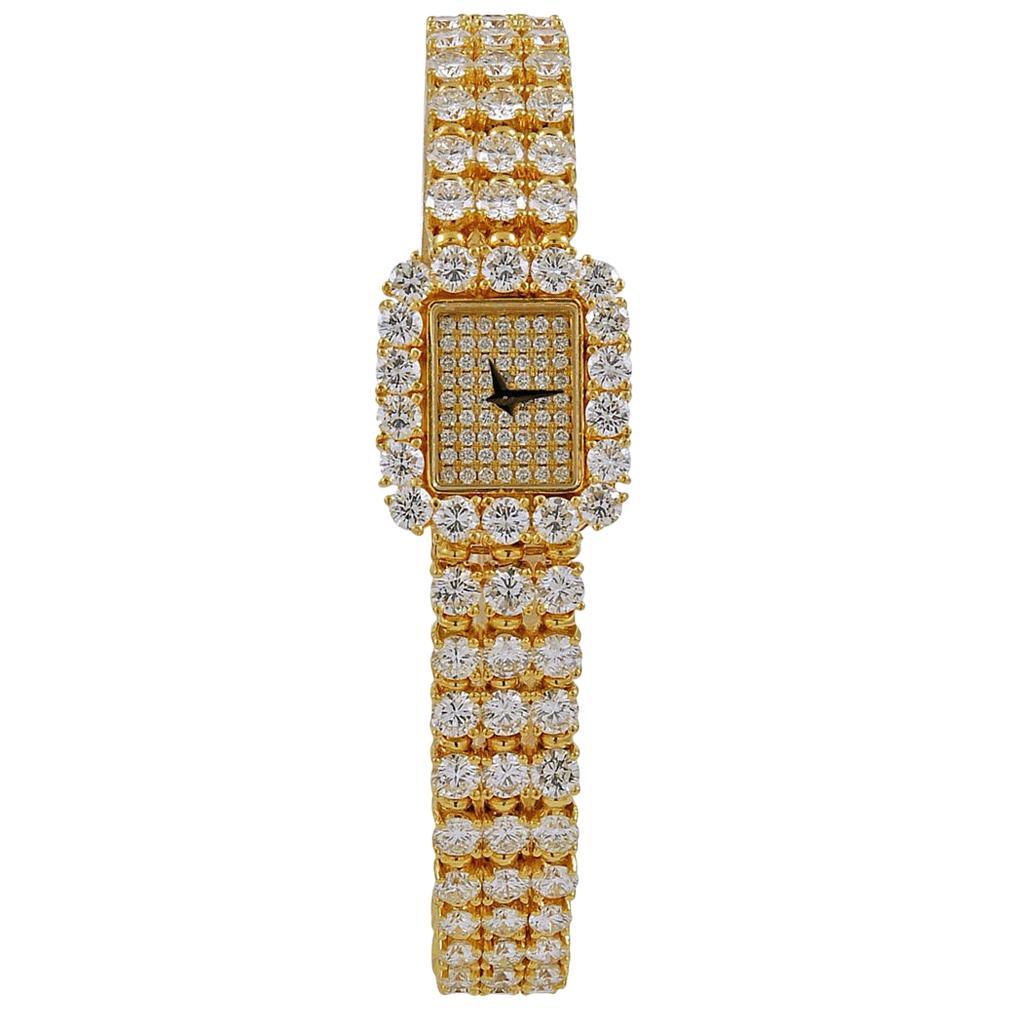 Piaget Ladies Diamond Yellow Gold Halo Bracelet Wristwatch