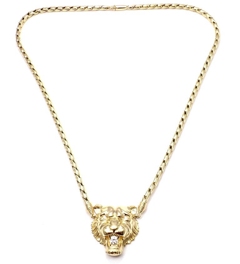 Piaget Diamond Lion Pendant Link Yellow Gold Necklace In Excellent Condition For Sale In Holland, PA