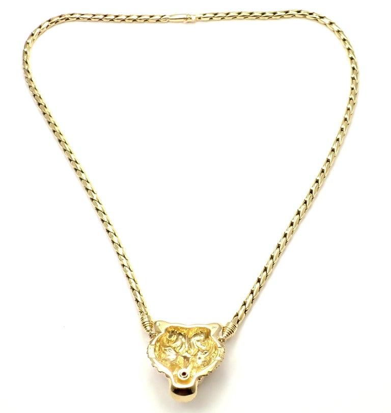 Women's or Men's Piaget Diamond Lion Pendant Link Yellow Gold Necklace For Sale
