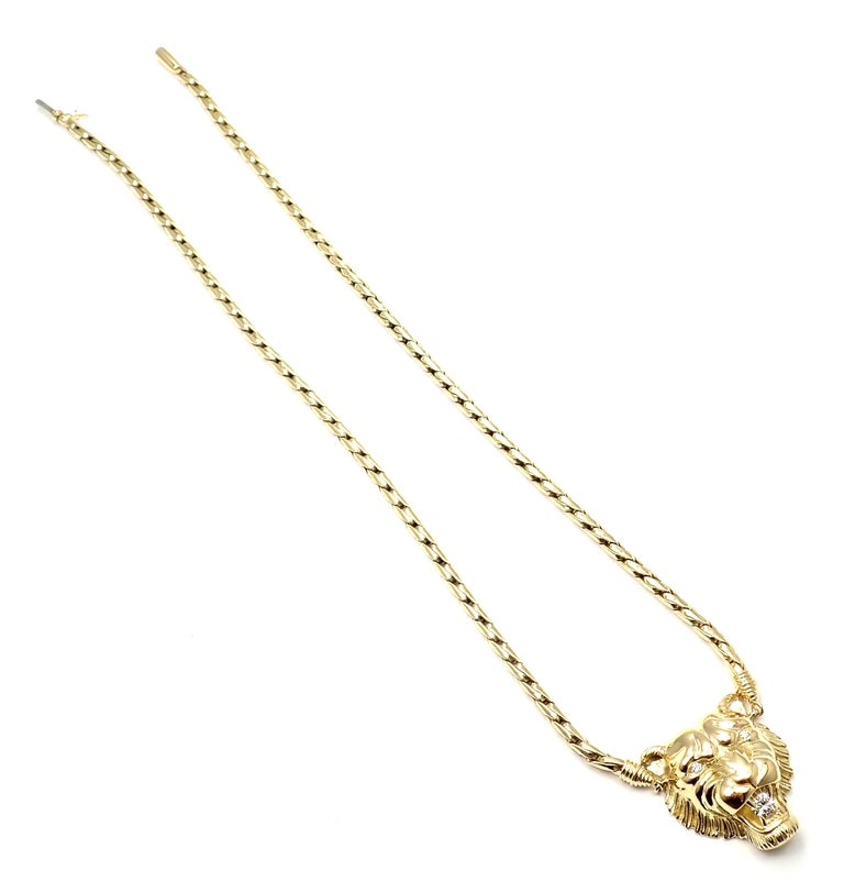 Piaget Diamond Lion Pendant Link Yellow Gold Necklace For Sale 1