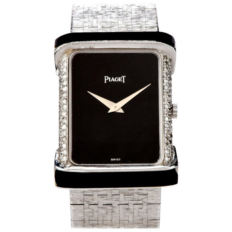 Piaget Diamond Onyx 18 Karat White Gold Women's Watch For Sale