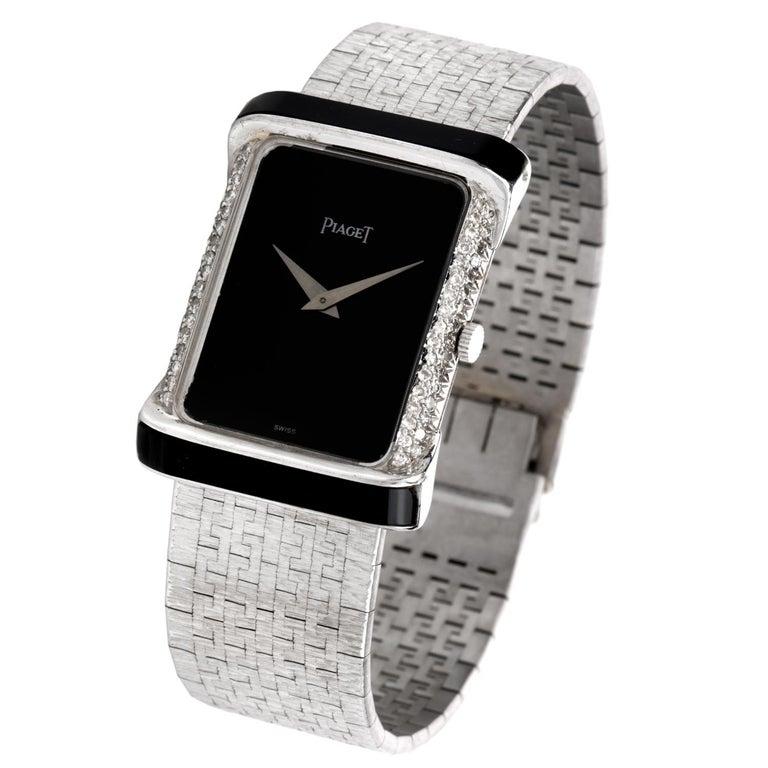 Modern Piaget Diamond Onyx 18 Karat White Gold Women's Watch For Sale