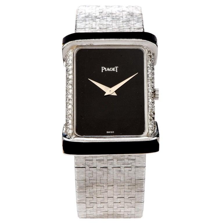 Round Cut Piaget Diamond Onyx 18 Karat White Gold Women's Watch For Sale
