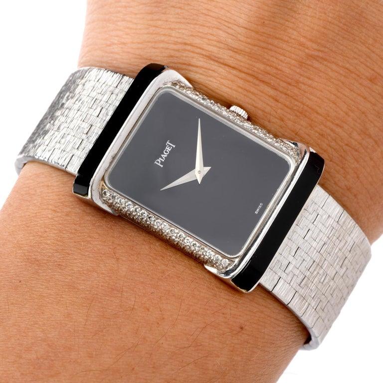 Piaget Diamond Onyx 18 Karat White Gold Women's Watch In Excellent Condition For Sale In Miami, FL