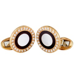 Piaget Diamond Onyx and Mother-of-Pearl Yellow Gold Round Cufflinks