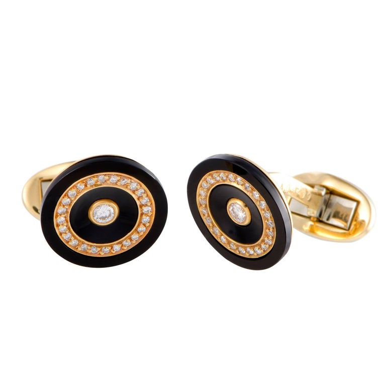 Piaget Diamond Pave Onyx Yellow Gold Cufflinks For Sale