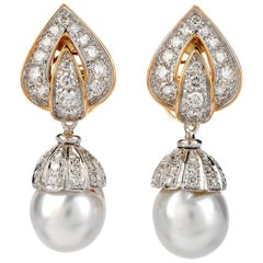 Piaget Diamond Pearl 18 Karat Gold Day and Night Clip-On Earrings