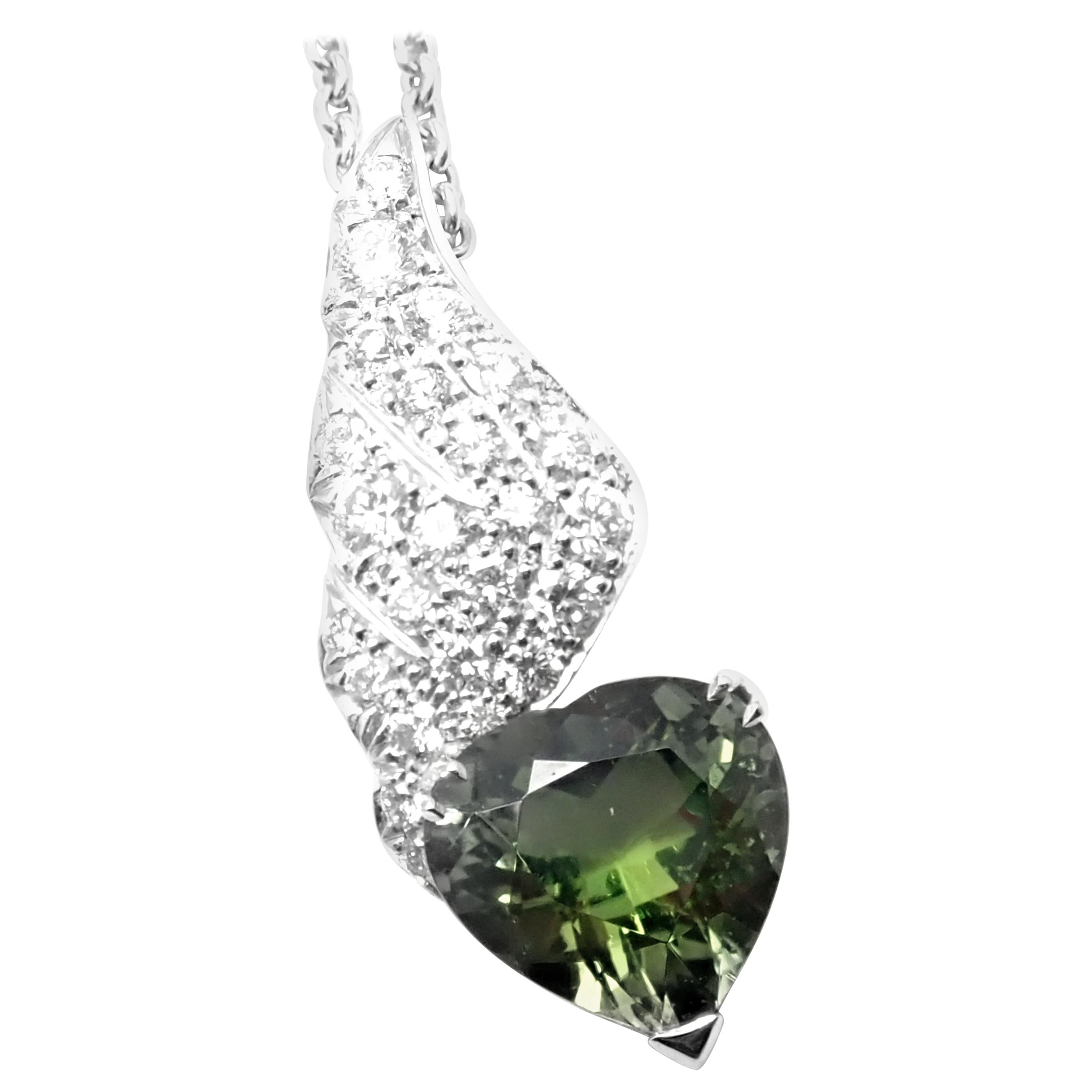 Piaget Diamond Peridot Heart White Gold Pendant Necklace