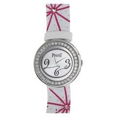 Piaget Diamond Possession Watch 18 Karat White Gold Leather Belt Quartz