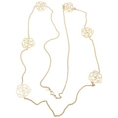 Piaget Diamond Rose Flower Long Yellow Gold Chain Necklace