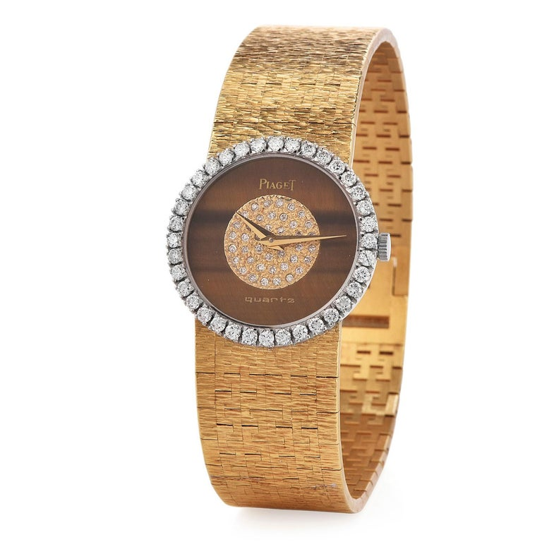 Round Cut PIAGET Diamond Tiger Eye Dial Diamond Bezel 18k Gold Watch