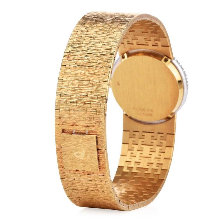 PIAGET Diamond Tiger Eye Dial Diamond Bezel 18k Gold Watch In Excellent Condition In Miami, FL
