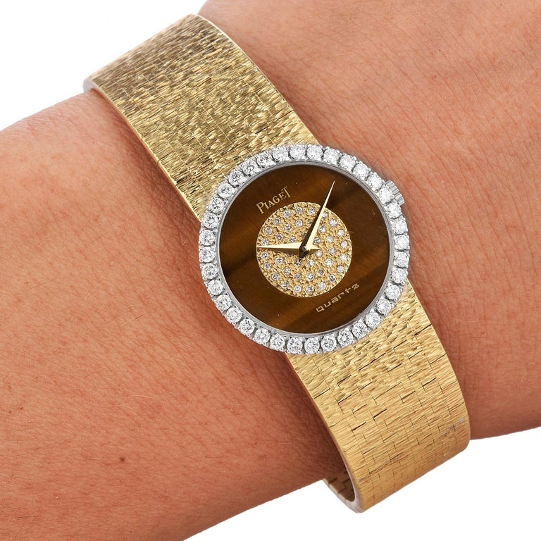 PIAGET Diamond Tiger Eye Dial Diamond Bezel 18k Gold Watch 1