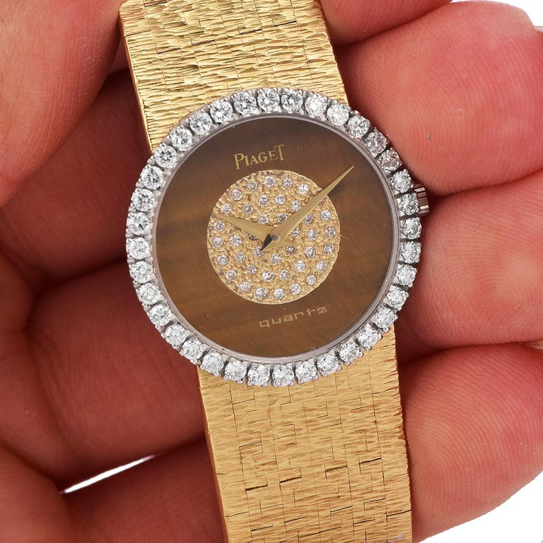 PIAGET Diamond Tiger Eye Dial Diamond Bezel 18k Gold Watch 2