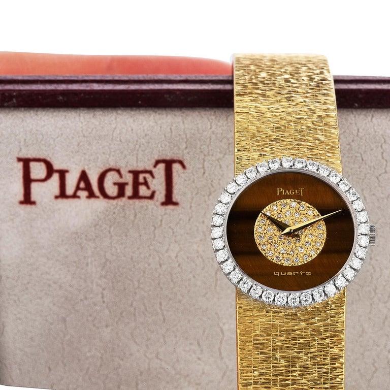 PIAGET Diamond Tiger Eye Dial Diamond Bezel 18k Gold Watch 3