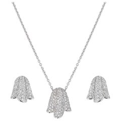 Piaget Diamond Tulip Earring and Pendant Necklace Suite