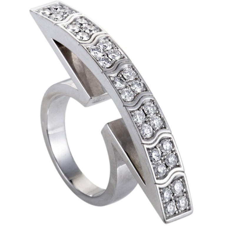 Piaget Diamond White Gold Curved Cocktail Ring