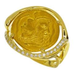 Piaget Diamonds Hans Erni Coin Ring 18 Karat 24 Karat Yellow Gold