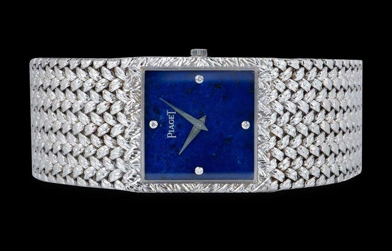 Piaget Dress Watch Gents 18 Karat White Gold Lapis Lazuli Diamond Dial 934D2 In Excellent Condition For Sale In London, GB