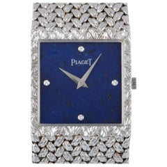 Piaget Dress Watch Gents 18 Karat White Gold Lapis Lazuli Diamond Dial 934D2
