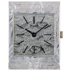 Piaget Dress Watch Ladies 18 Karat White Gold Textured Silvered Dial 9131 A 17