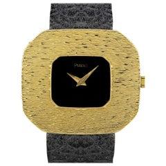 Piaget Dress Watch Vintage Men's 18k Yellow Gold Black Dial 99036