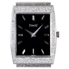 Piaget Dress Watch Vintage Women's 18k White Gold Black Dial Diamond Set