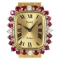 Piaget Dress Watch Women's 18k Yellow Gold Champagne Dial Ruby & Diamond Set