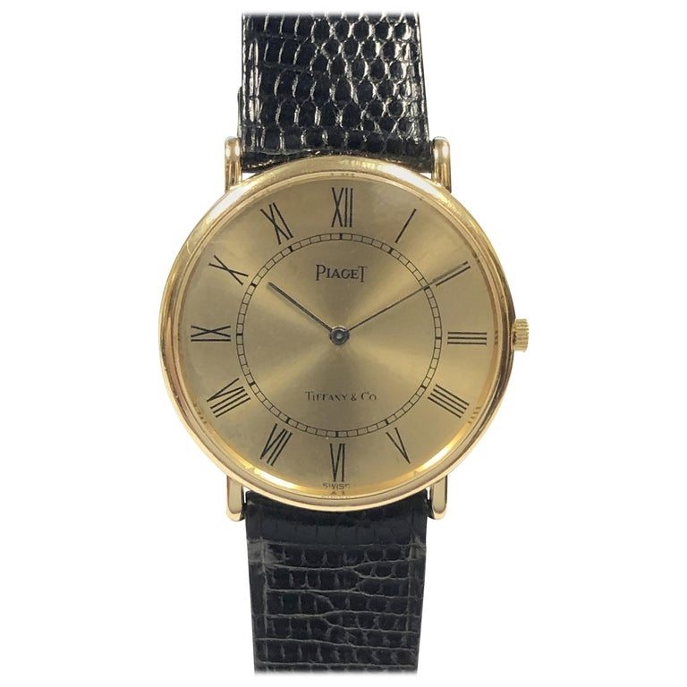 Piaget for Tiffany & Co. Yellow Gold Mechanical Wristwatch  For Sale