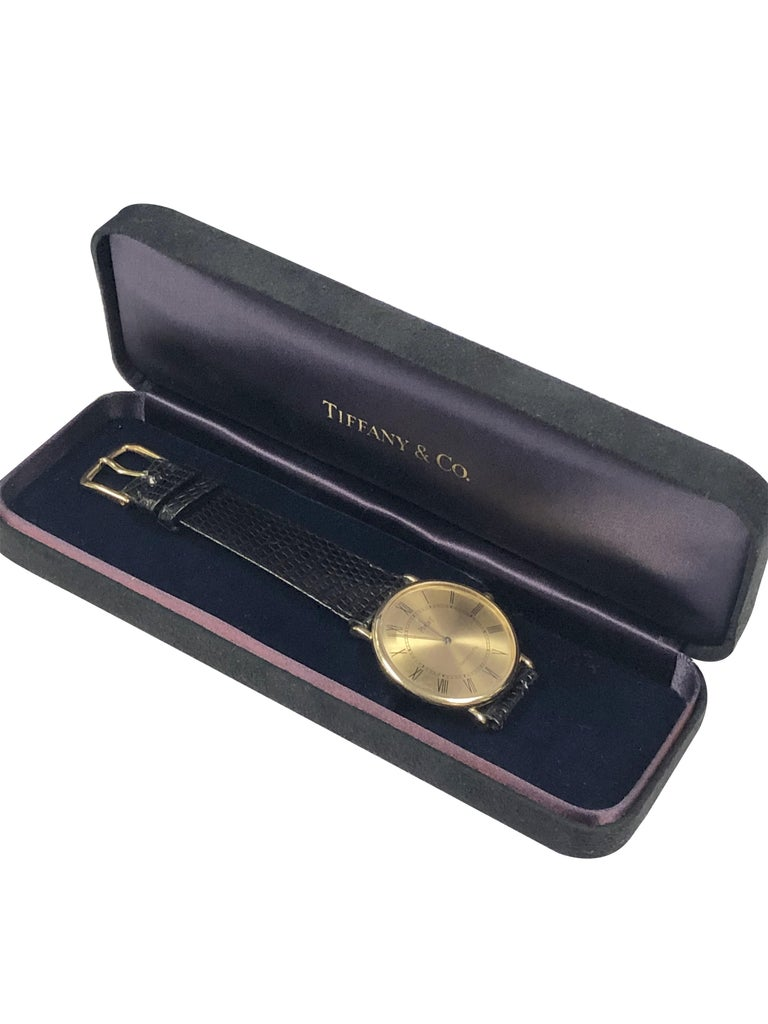 Piaget for Tiffany & Co. Yellow Gold Mechanical Wristwatch  For Sale 2