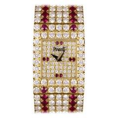Piaget Fully Loaded Diamond and Ruby Set Quartz Vintage Wristwatch