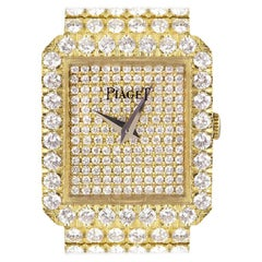 Piaget Fully Loaded Dress Watch Women's 18k Yellow Gold Pave Diamond Dial