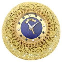 Piaget Gold and Lapis Desk Clock