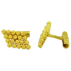 Piaget Gold Textured Cufflinks, French, circa 1970