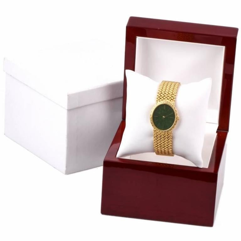Piaget Jade Dial Manual Wind Gold Ladies Wristwatch In Excellent Condition For Sale In Miami, FL