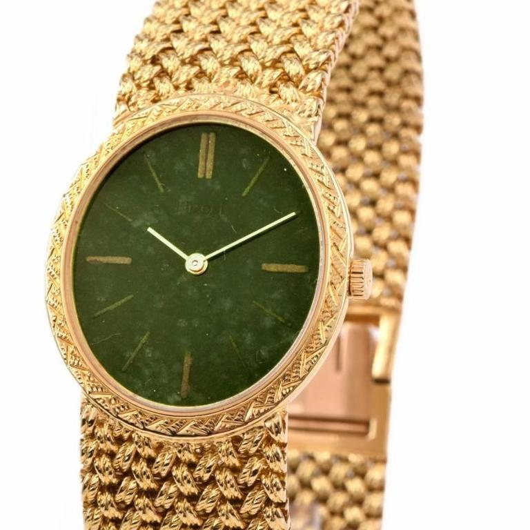 Women's or Men's Piaget Jade Dial Manual Wind Gold Ladies Wristwatch For Sale
