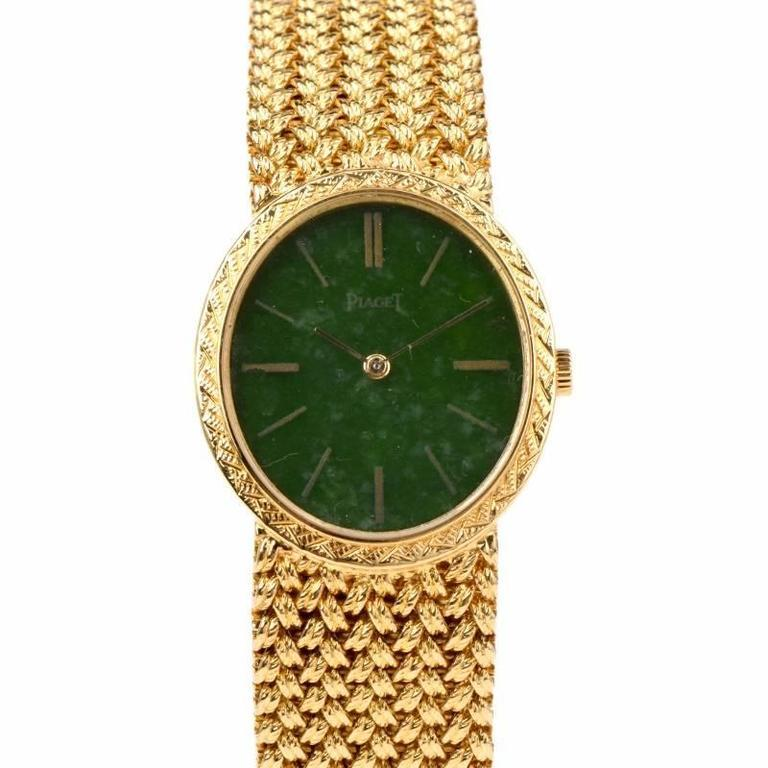 Piaget Jade Dial Manual Wind Gold Ladies Wristwatch For Sale 1