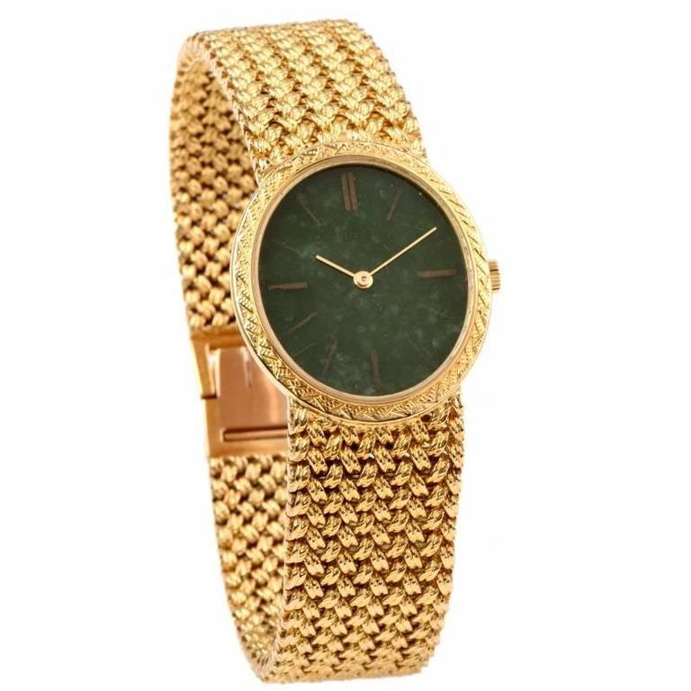 Piaget Jade Dial Manual Wind Gold Ladies Wristwatch For Sale